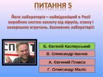 А. Євгений Плакса Б. Євгеній Касперський В. Олександр Іванов Г. Олександр Мал...