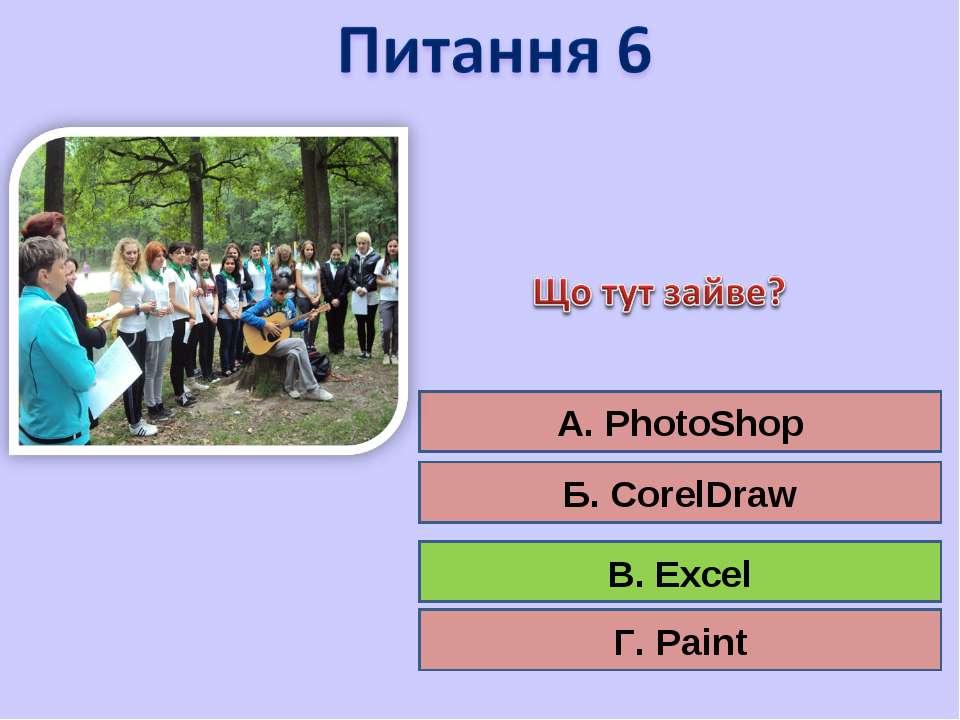 А. PhotoShop Б. CorelDraw В. Excel Г. Paint В. Excel