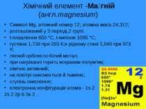 Хiмiчний елемент -Ма гній (англ.magnesium) Символ Mg, атомний номер 12; атомн...