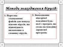 Методи знаходження вірусів: 1. Перегляд (сканування) файлів для пошуку відоми...