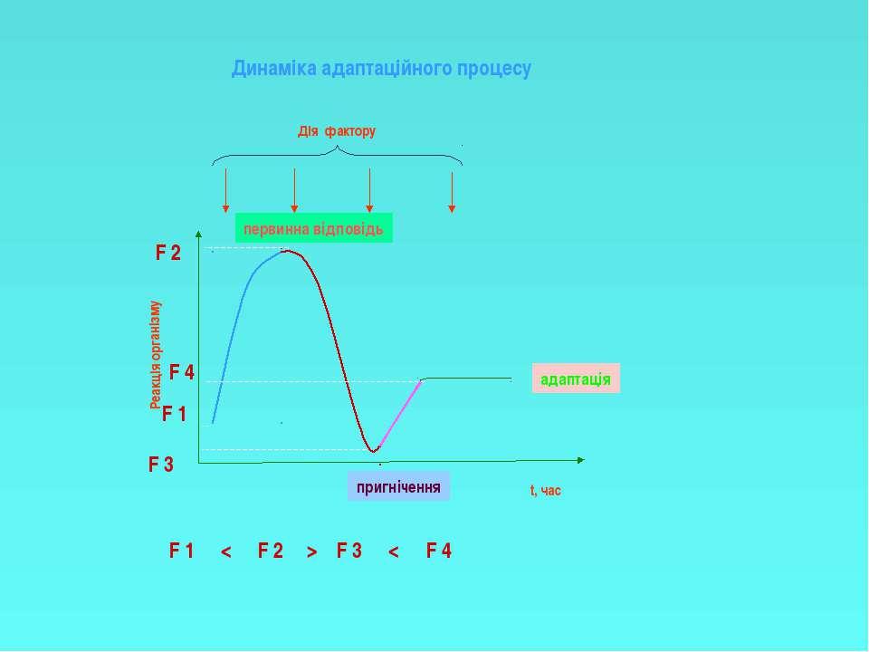 Реакція організму t, час Дія фактору F 1 F 2 F 3 F 4 F 1 F 2 F 3 F 4 < > < пе...