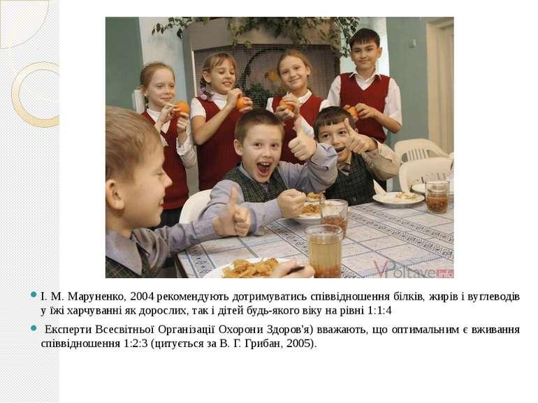 І. М. Маруненко, 2004 рекомендують дотримуватись співвідношення білків, жирів...