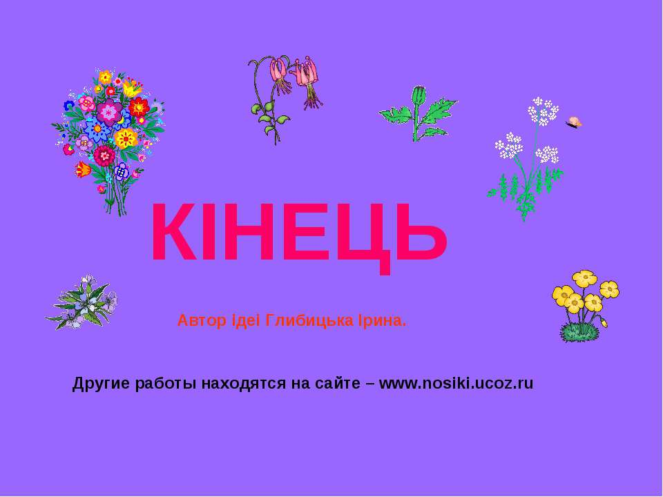 КІНЕЦЬ Другие работы находятся на сайте – www.nosiki.ucoz.ru Автор iдеi Глиби...