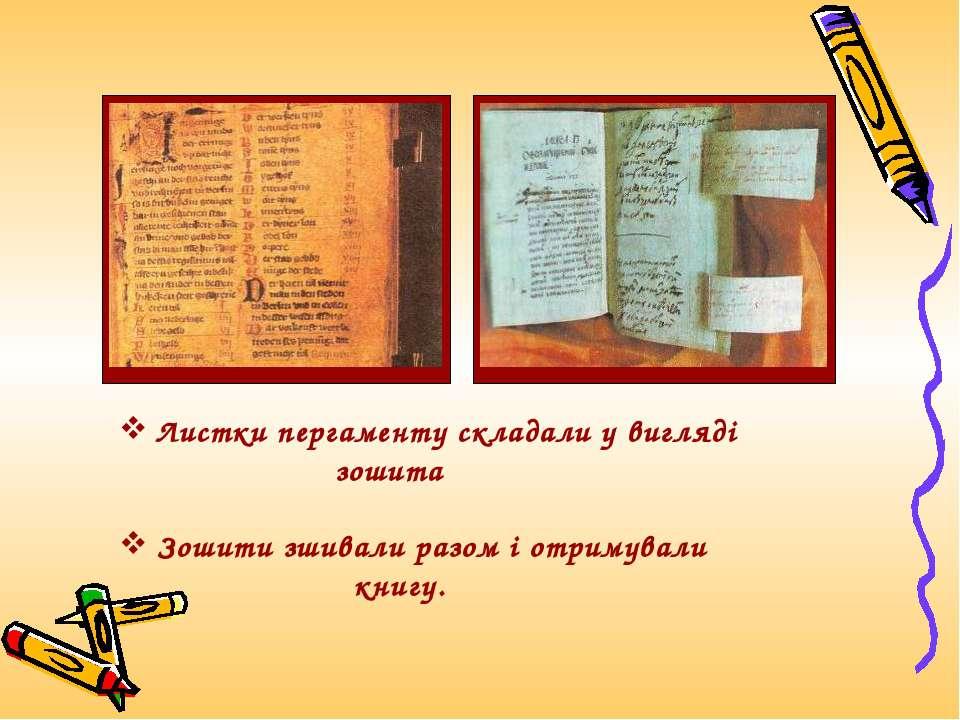 Листки пергаменту складали у вигляді зошита Зошити зшивали разом і отримували...