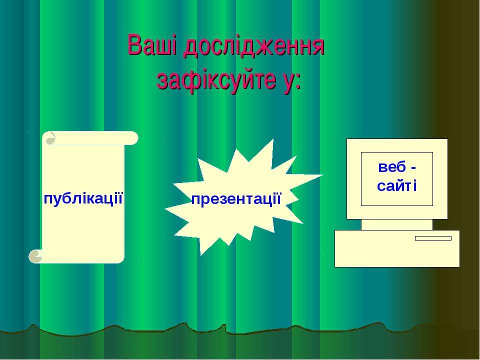 Ваші дослідження зафіксуйте у: публікації презентації веб - сайті