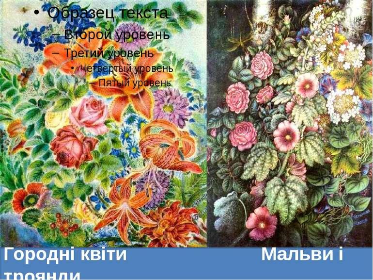 Городні квіти Мальви і троянди