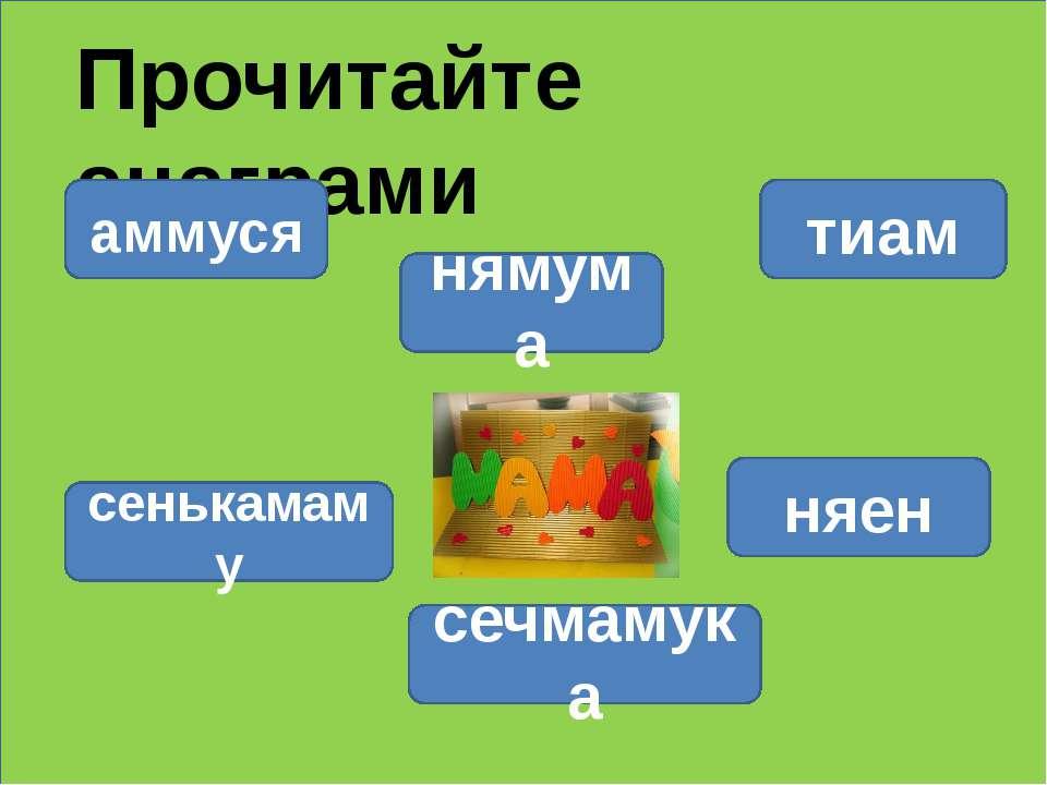 Прочитайте анаграми нямума тиам аммуся сенькамаму сечмамука няен