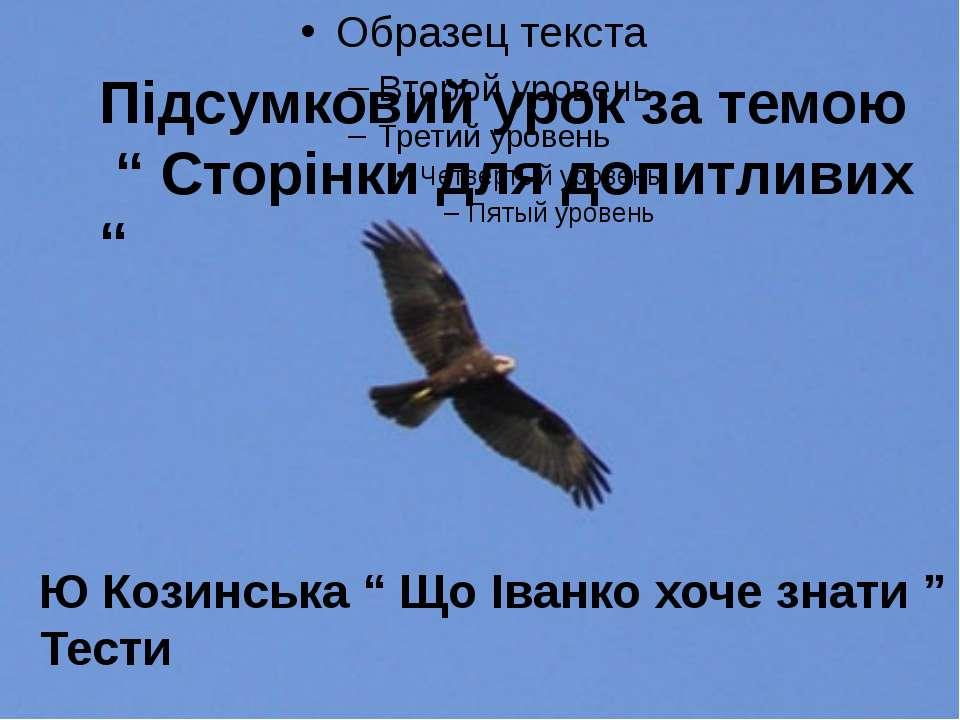 """Підсумковий урок за темою """" Сторінки для допитливих """" Ю Козинська """" Що Іванко..."""