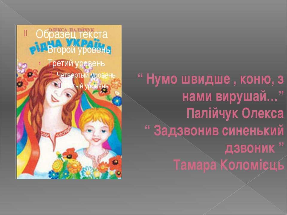 """"""" Нумо швидше , коню, з нами вирушай…"""" Палійчук Олекса """" Задзвонив синенький ..."""