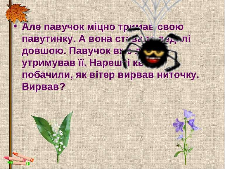 Але павучок міцно тримав свою павутинку. А вона ставала дедалі довшою. Павучо...