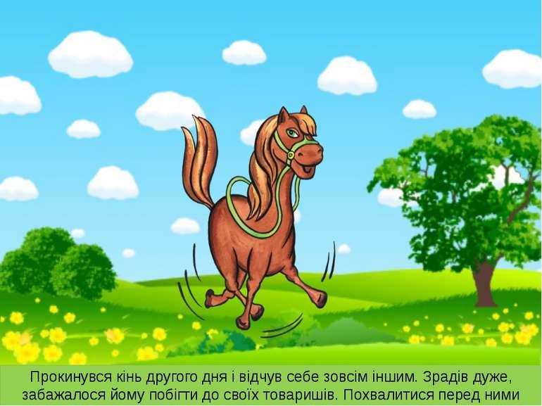 Прокинувся кінь другого дня і відчув себе зовсім іншим. Зрадів дуже, забажало...