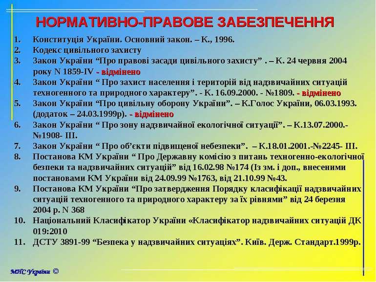 НОРМАТИВНО-ПРАВОВЕ ЗАБЕЗПЕЧЕННЯ Конституція України. Основний закон. – К., 19...