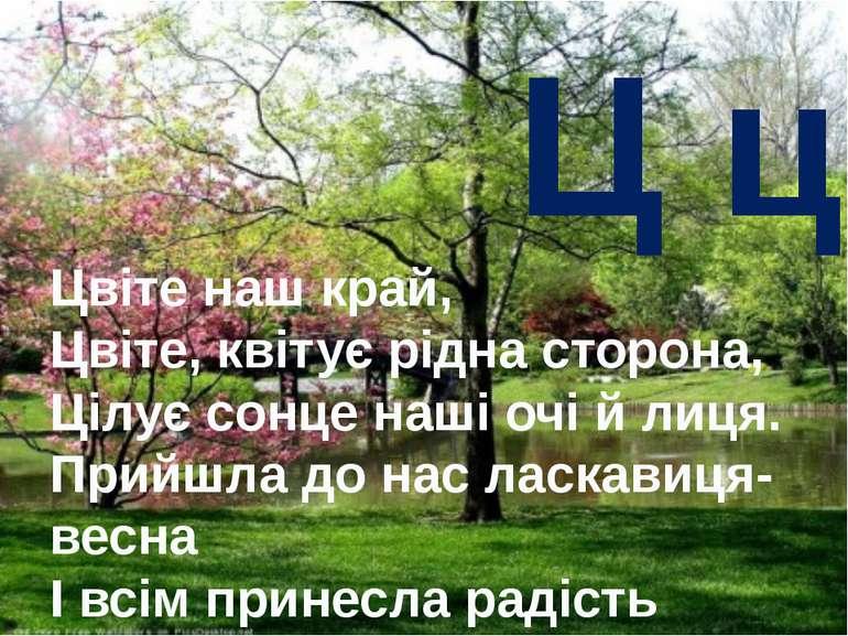 Ц ц Цвіте наш край, Цвіте, квітує рідна сторона, Цілує сонце наші очі й лиця....