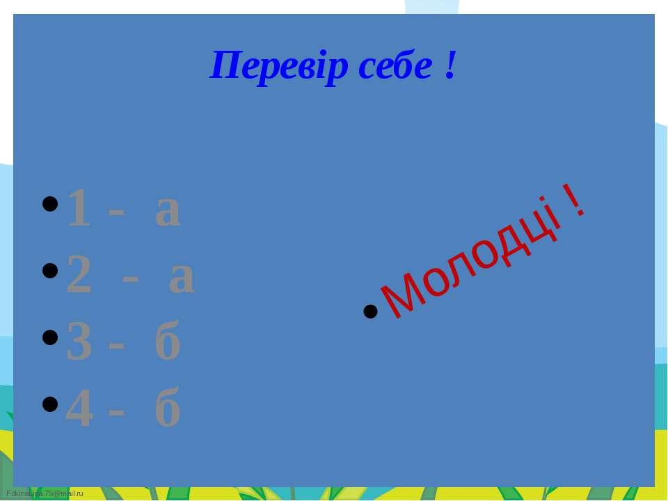 Перевір себе ! 1 - а 2 - а 3 - б 4 - б Молодці ! FokinaLida.75@mail.ru
