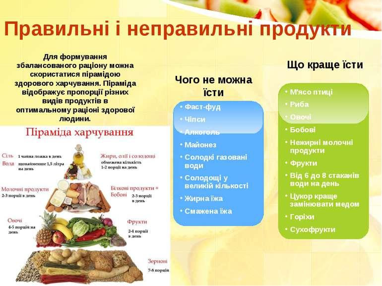 М'ясо птиці Риба Овочі Бобові Нежирні молочні продукти Фрукти Від 6 до 8 стак...