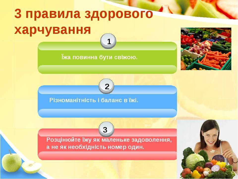 3 правила здорового харчування 1 2 3 Їжа повинна бути свіжою. Різноманітність...