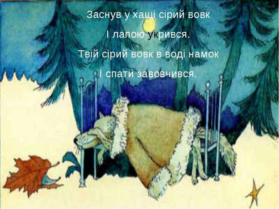 Заснув у хащі сірий вовк І лапою укрився. Твій сірий вовк в воді намок І спат...