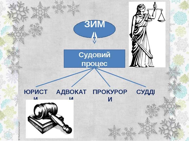 ЗИМА Судовий процес ЮРИСТИ АДВОКАТИ ПРОКУРОРИ СУДДІ