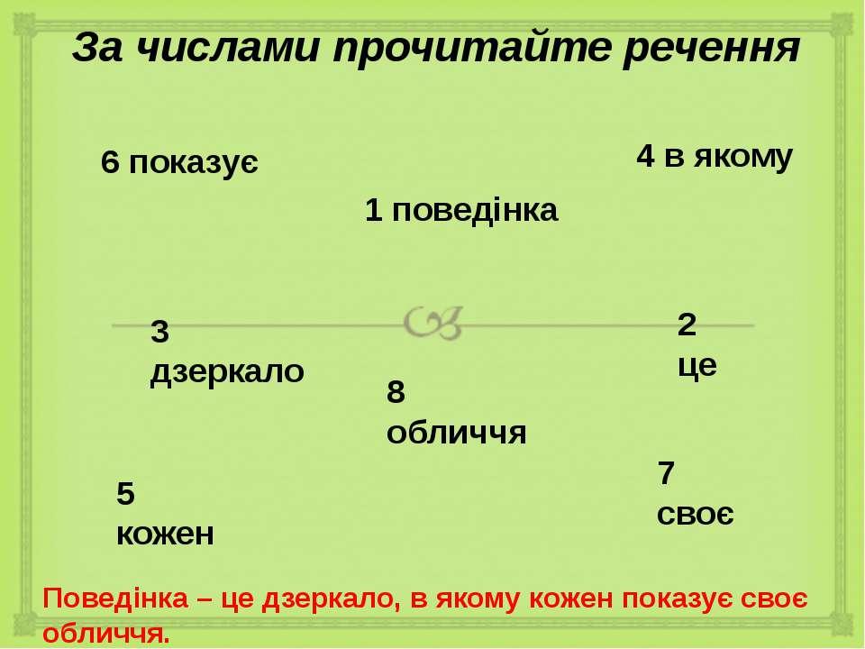 За числами прочитайте речення 6 показує 1 поведінка 4 в якому 3 дзеркало 2 це...