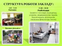 СТРУКТУРА РОБОТИ ЗАКЛАДУ: 9.00 – 15.00 Навчання Виховна діяльність 15.00 – 18...