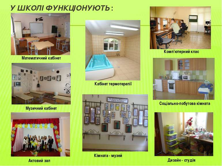 У ШКОЛІ ФУНКЦІОНУЮТЬ : Математичний кабінет Музичний кабінет Кабінет термотер...