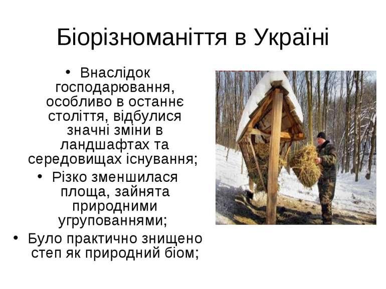 Біорізноманіття в Україні Внаслідок господарювання, особливо в останнє століт...