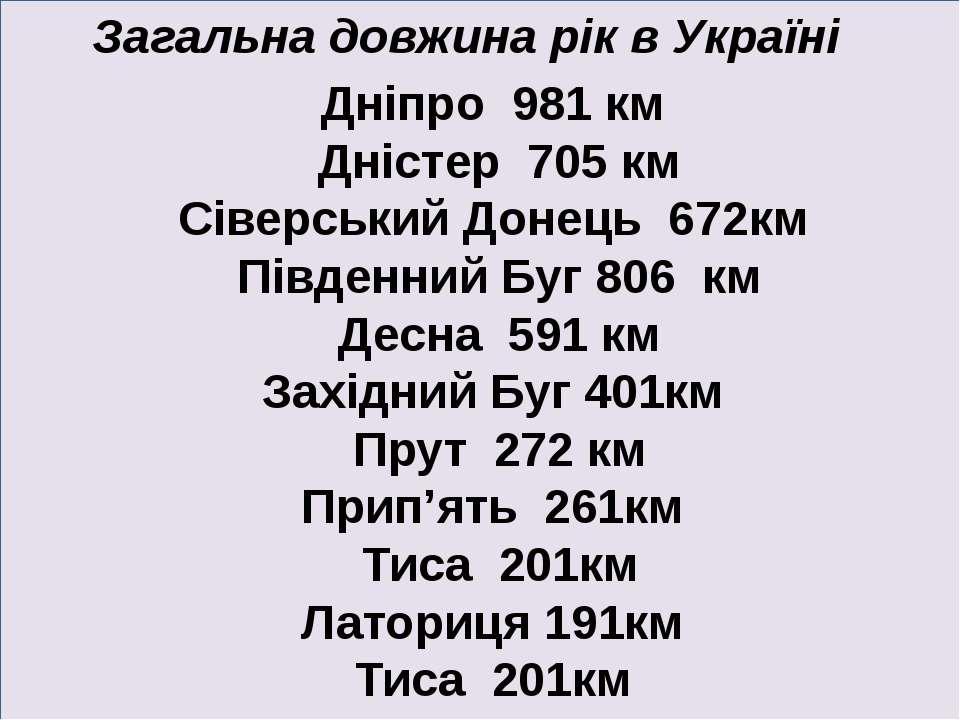 Дніпро 981 км Дністер 705 км Сіверський Донець 672км Південний Буг 806 км Дес...