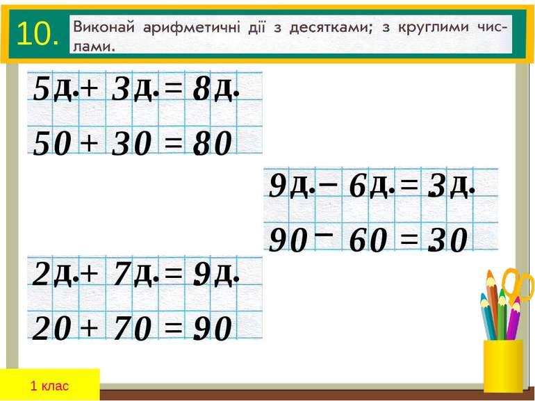 10. + 5 3 = . 8 д. д. д. + 5 3 = . 8 0 0 0 1 клас – 9 6 = . 3 д. д. д. – 9 6 ...