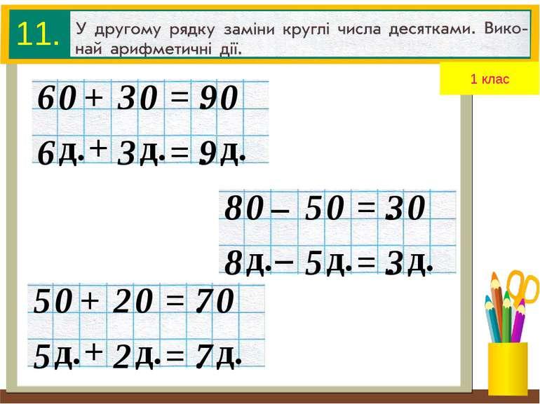 + 6 3 = . 9 д. д. д. + 6 3 = . 9 0 0 0 11. 1 клас – 8 5 = . 3 д. д. д. – 8 5 ...