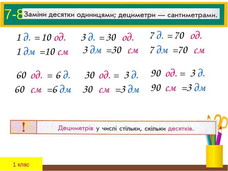 7-8. 1 д. = 10 од. 1 дм = 10 см 3 д. = 30 од. 3 дм = 30 см 7 д. = 70 од. 7 дм...
