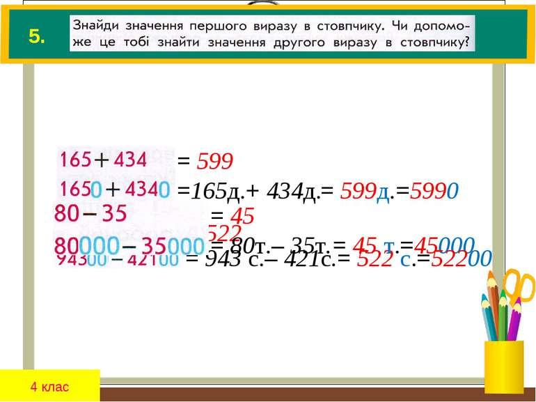 4 клас 5. = 599 =165д.+ 434д. 0 = 522 = 943 с.– 421с. 00 = 45 = 80т.– 35т. 00...