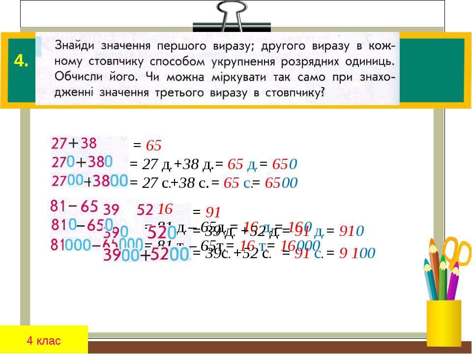 4 клас 4. = 16 = 81 д. = 81 т. = 91 = 39 д. = 39с. = 27 д. +38 д. = 65 д. = 6...