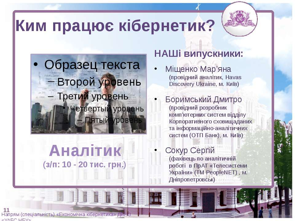 Аналітик (з/п: 10 - 20 тис. грн.) НАШі випускники: Міщенко Мар'яна (провідний...
