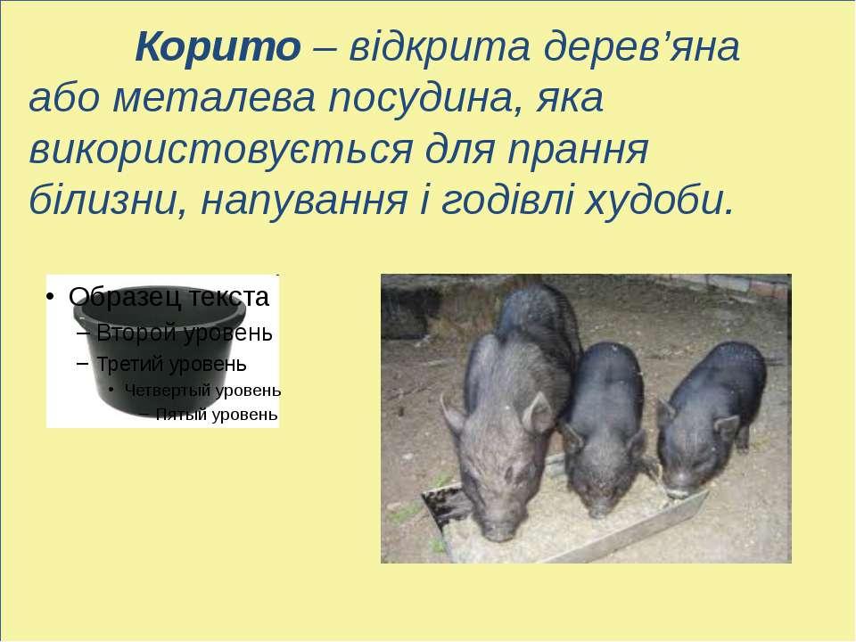 ь Корито – відкрита дерев'яна або металева посудина, яка використовується для...