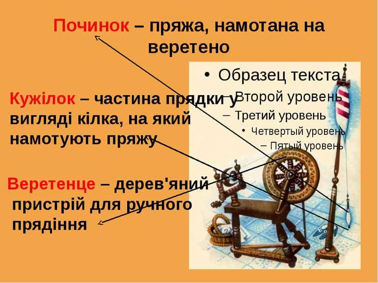 Починок – пряжа, намотана на веретено Кужілок – частина прядки у вигляді кілк...