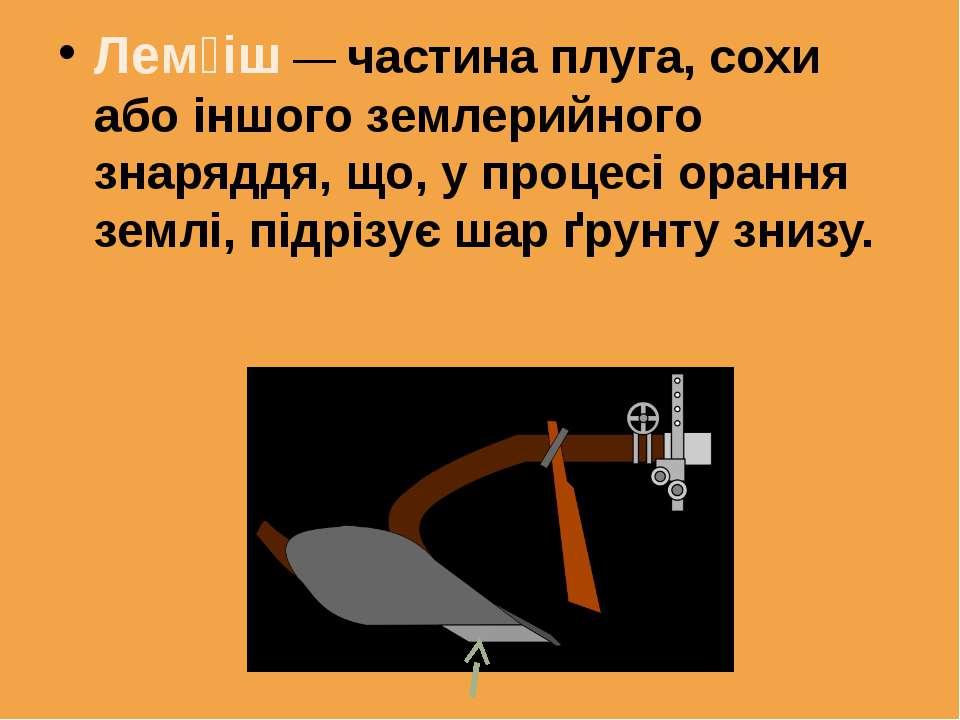 Лем іш — частина плуга, сохи або іншого землерийного знаряддя, що, у процесі ...