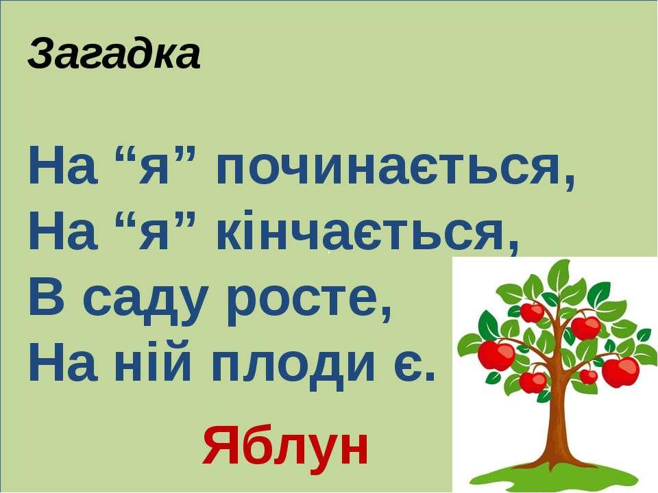 """. Загадка На """"я"""" починається, На """"я"""" кінчається, В саду росте, На ній плоди є..."""
