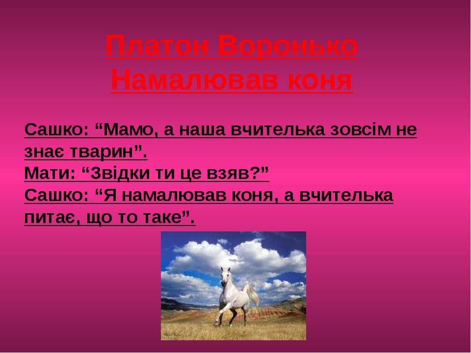 """Платон Воронько Намалював коня Сашко: """"Мамо, а наша вчителька зовсім не знає ..."""