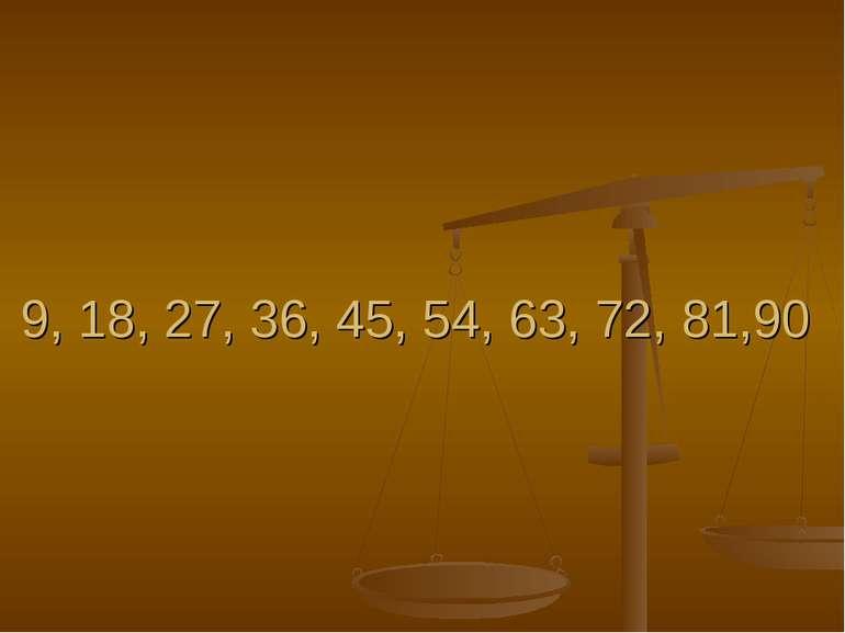 9, 18, 27, 36, 45, 54, 63, 72, 81,90