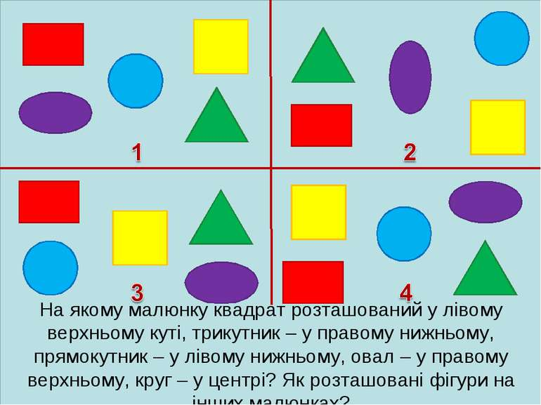 На якому малюнку квадрат розташований у лівому верхньому куті, трикутник – у ...