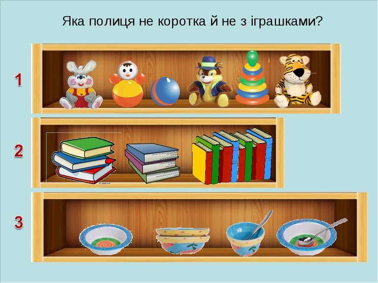 Яка полиця не коротка й не з іграшками?