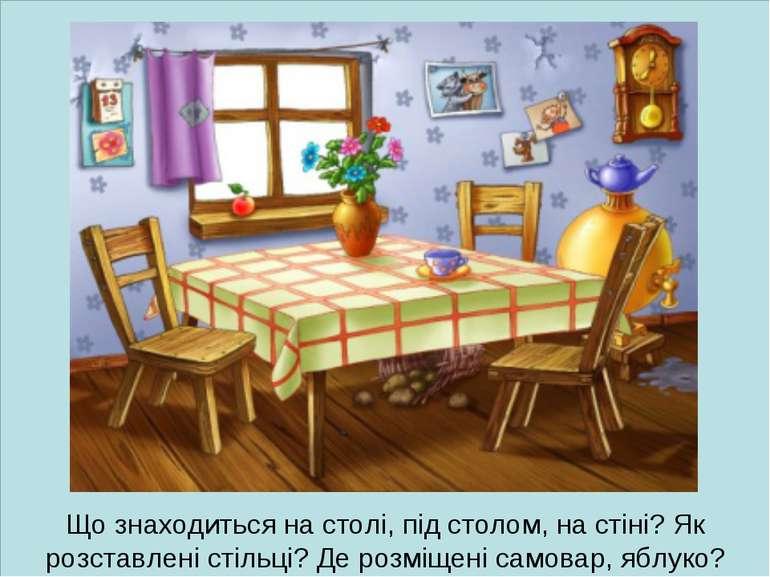 Що знаходиться на столі, під столом, на стіні? Як розставлені стільці? Де роз...