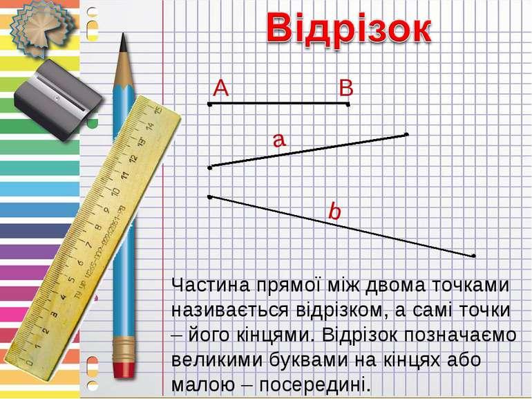 Частина прямої між двома точками називається відрізком, а самі точки – його к...