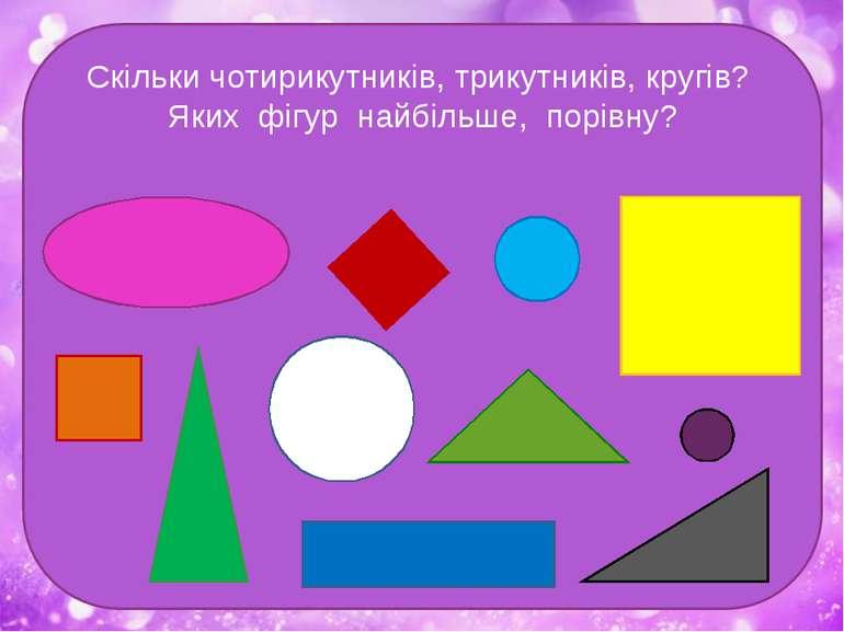 Скільки чотирикутників, трикутників, кругів? Яких фігур найбільше, порівну?