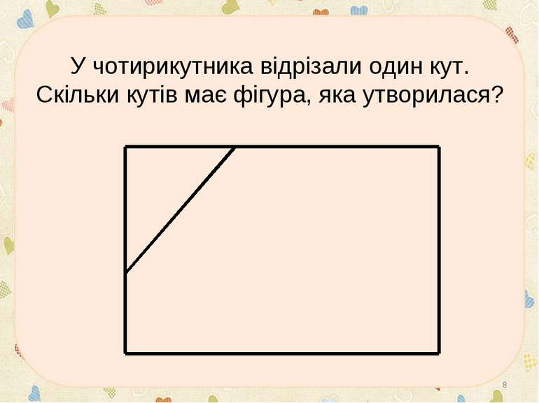 У чотирикутника відрізали один кут. Скільки кутів має фігура, яка утворилася? *