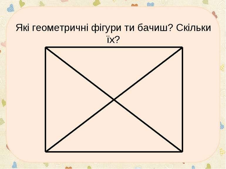 * Які геометричні фігури ти бачиш? Скільки їх?