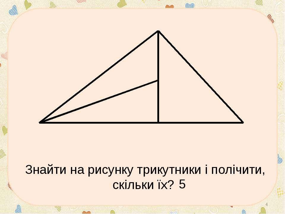 Знайти на рисунку трикутники і полічити, скільки їх? * 5