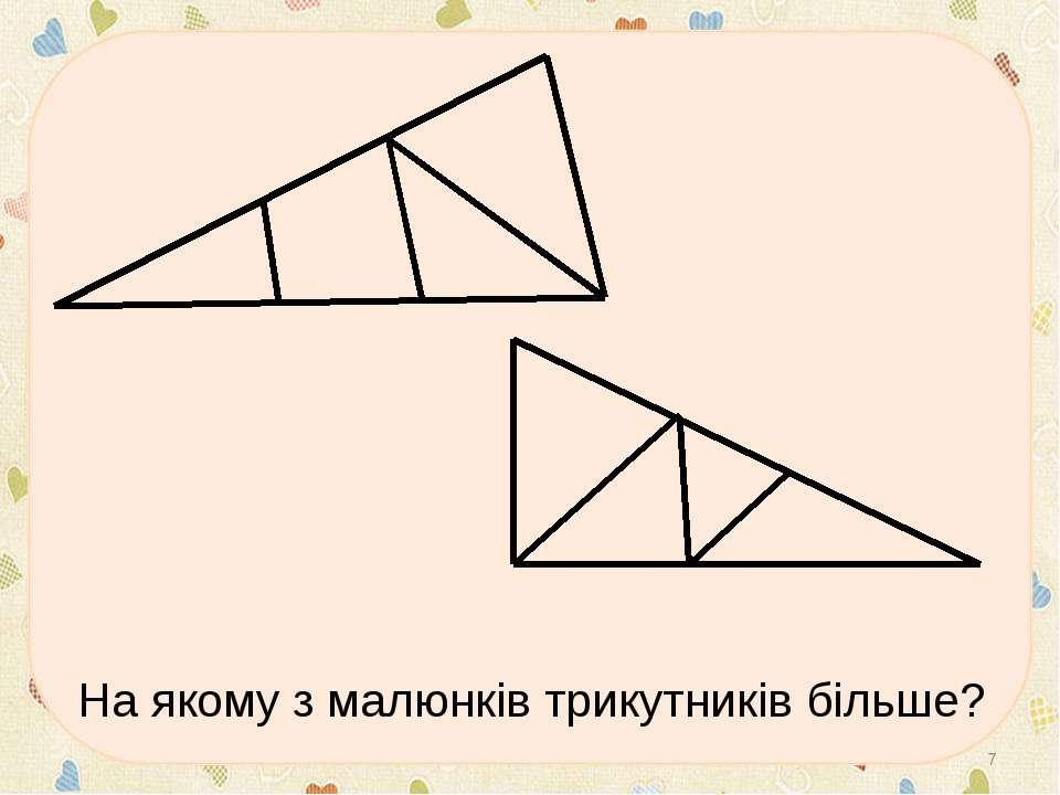 На якому з малюнків трикутників більше? *