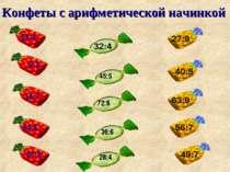 Конфеты с арифметической начинкой 24:4 14:7 54:6 81:9 32:4 45:5 72:8 36:6 28:...