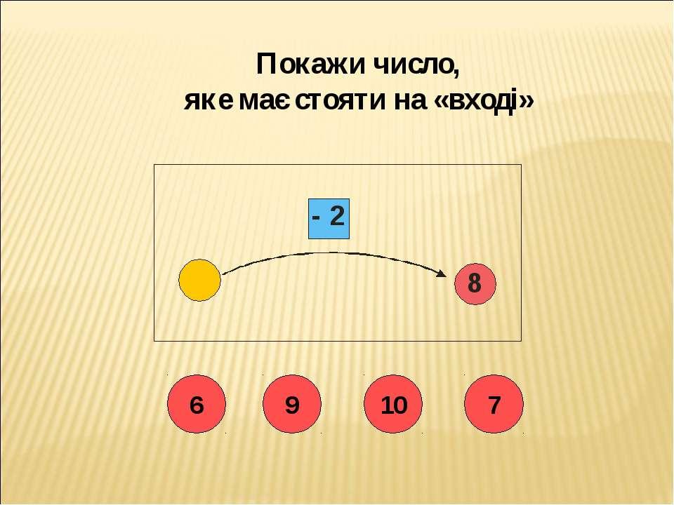Покажи число, яке має стояти на «вході» 6 9 10 7